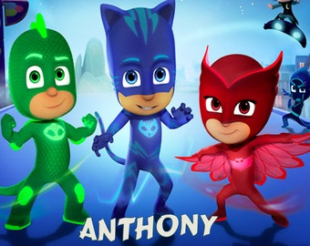 PJ Masks Group  Iron on T-Shirt Transfer w/FREE Personalization and SHIPPING