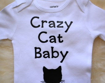 Cat baby onesie, baby clothes, crazy cat baby, hipster, cute kitten, onesie, bodysuit - funny baby shower gift for baby boy, baby girl