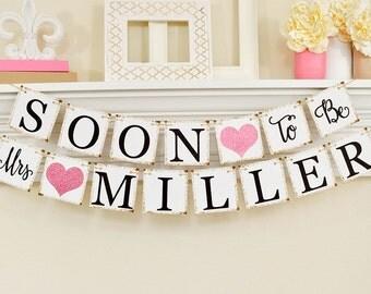 Bientôt pour être Mme bannière, Décorations nuptiales de douche, douche nuptiale bannière, partie de Bachelorette, Pink Glitter Bridal Shower, B206
