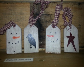 Set of 4 primitive Wooden tags