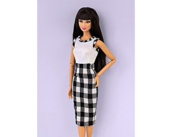 Checkered dress for Barbie and Poppy - 12 fabrics to choose