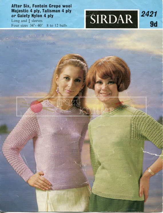 """Lady's Evening Sweaters 34-40"""" 4-ply Sirdar 2421 Vintage Knitting Pattern PDF instant download"""