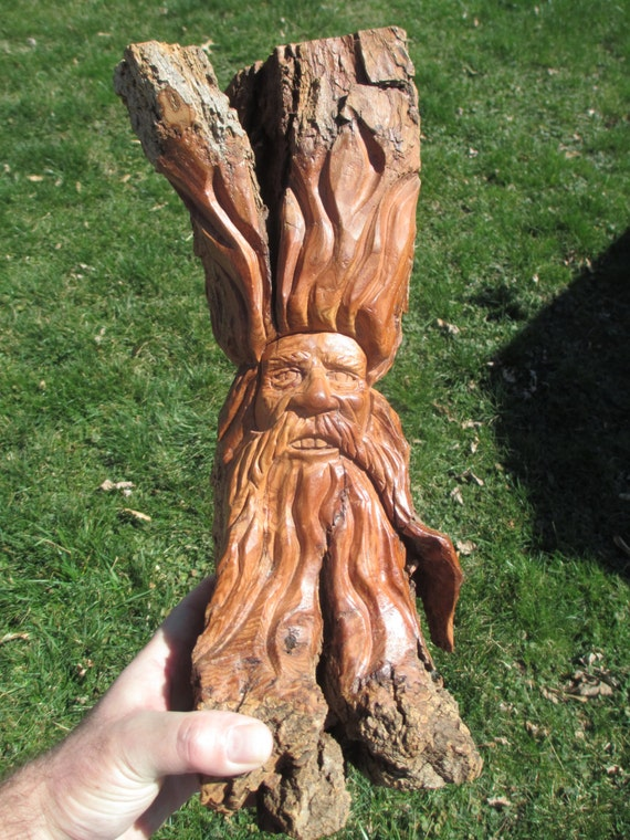 Wood spirit cottonwood bark one of a kind birthday art gift