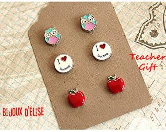 3 Pairs of I Love Teaching Teaching Post Earrings Stud Earrings sets Red Apple Owl - Teacher Gift