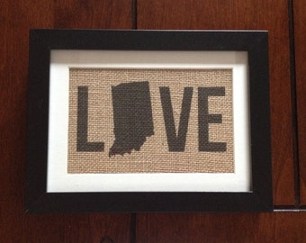 Indiana State - Love - Burlap in 5in x 7in Frame with Mat