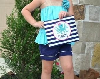 Personalized Large cosmetic bag - Monogram octopus