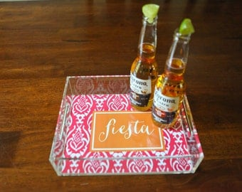 "Personalized Lucite Tray - hostess gift, entertaining tray 8.5""x11"" fiesta monogram"