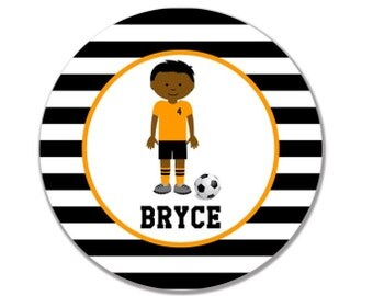 personalized Melamine Plate - custom melamine dish soccer player boy sports
