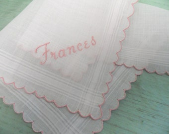 FRANCES handkerchief / unused, vintage, embroidered name hankie by Burmel /  pink and white / monogram Frances / personalized inital F