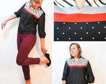 Graphic Polka Dot and Stripes Blouse