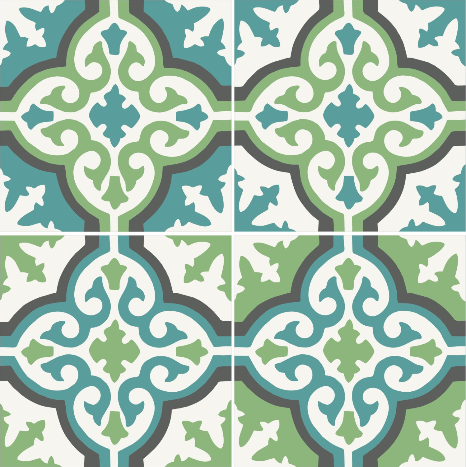 Olive u0026 Teal Morrocan style tile/wall stickers: 4 by Bleucoin