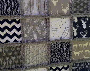 Crib Rag Quilt, Boy Quilt, Arrows, Stag Rustic Woodland Deer Baby Quilt Navy Herringbone, Gray, Feathers Baby Crib Bedding Children
