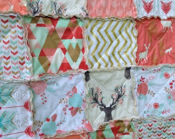 Crib Rag Quilt, Coral Mint Roses Deer Tribal Pink Baby Quilt Aqua Gold Arrows Baby Girl Shabby Chic Crib Bedding Shot In Water Geometric