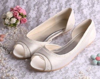 Custom handmade Peeptoe ivory or white satin dorsay flat ballerina ballet bridal wedding lace shoes