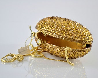 Swarovski ELEMENTS Gold Minaudiere Oval shape Crystal Metal case box clutch purse bag