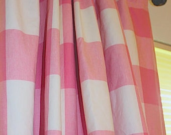 Red And White Buffalo Check Curtains.Farmhouse Curtains.