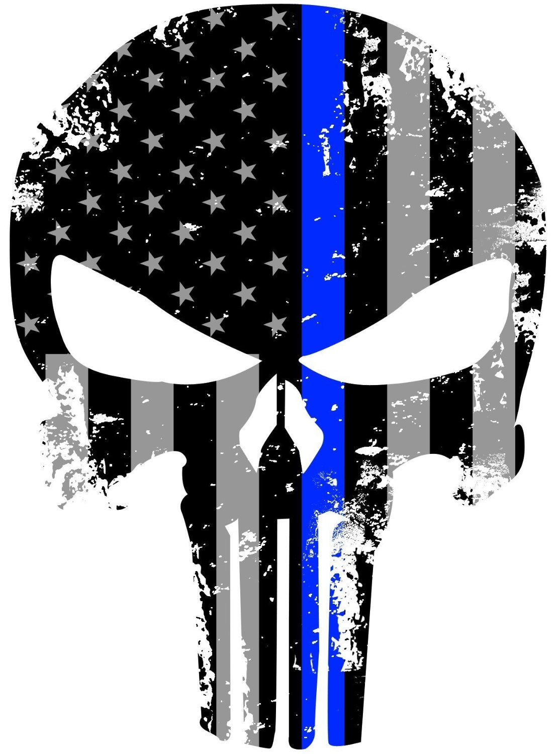 Punisher Tattered 3M reflective Police Officer Thin Blue Line