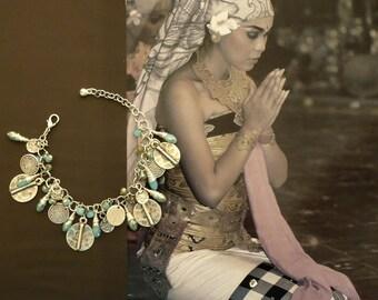 Romantic Bohemian bracelet - bracelet charms - charm bracelet - silver and blue bracelet - ethnic Bohemian bracelet - FUJIGIRLS