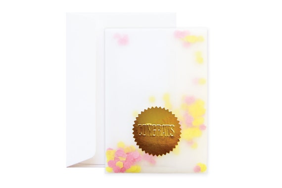 Confetti Congrats Greeting Card (including envelope) // feat. Gold Embossed Sticker