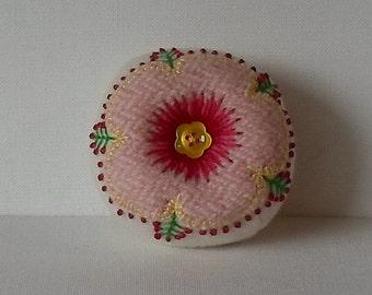 Handmade Pincushion Felted Wool Pink & White Hibiscus Pincushion