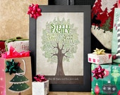 Christmas Gifts for Parents, Holiday Gift Ideas for Mom and Dad, Personalized Family Tree, Customized Family Tree Word Art Print for Couple