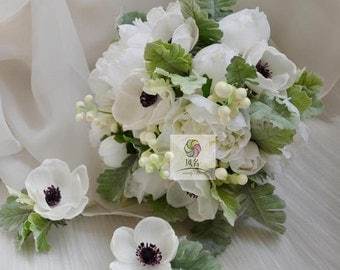 artificial flower wedding bridal bouquet white  peony