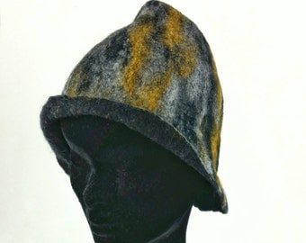 Black, grey and yellow Merino and silk hand felted hat