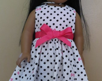 Polka dot party dress for 18 inch dolls,18 inch doll clothes,18 inch doll dress,handmade 18 inch doll clothes,polka dotted dress,black white