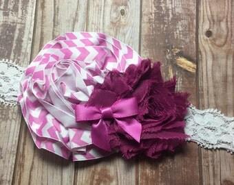 Plum headband: plum chevron and plum shabby chic flower on a white lace headband, plum headband, plum hair accessory