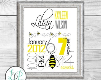 Bee Nursery Print, Bumblebee Birth Stats, Baby Birth Announcements, Yellow Nursery Decor, Personalized Nursery Print, Custom Baby Gift