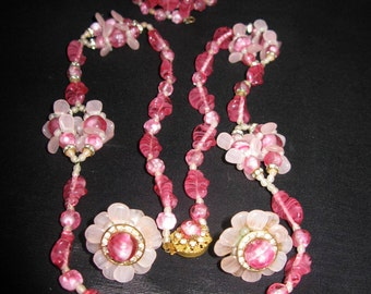 Miriam Haskell Jewelry Vintage, Necklace Bracelet Earring Signed Set Pink Glass, Rare Opera length