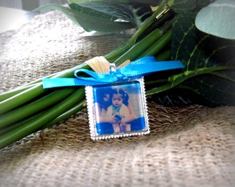 Something Blue Wedding Bouquet Memorial Photo Charm- PICTURE PRINTING INCLUDED