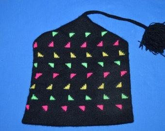80s Neon Geometric Knit Bobble Winter Hat