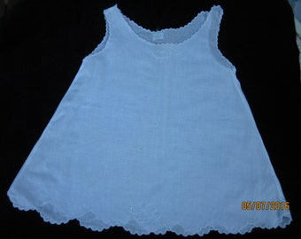 White scalloped baby top--1960s