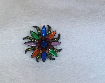Multi Colored Stone Brooch