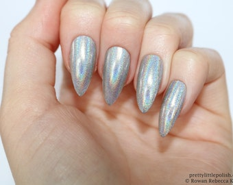 Holographic stiletto nails silver, Holographic nails, Fake nail, Stiletto nail, Kylie jenner, Black stiletto nail, Press on nail