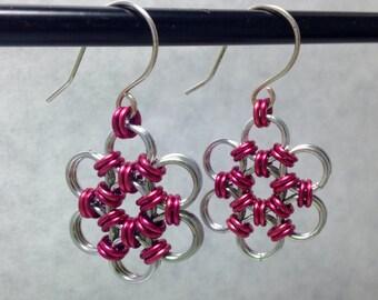 Fuschia & Silver Flower Chain Earrings