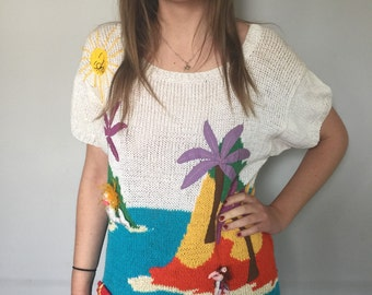 Amazing Short Sleeved Knit Top with 3-D Mermaids