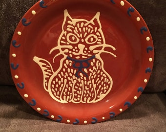 Eldreth pottery cat plate red ware