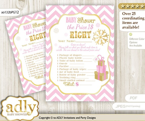 Girl Snowflake Price Is Right Game Printable Card For Baby Snowflake Shower DIY Pink Gold