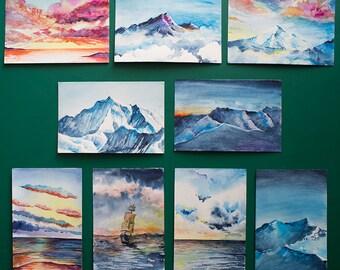 Custom Handmade Art Cards (Watercolor)