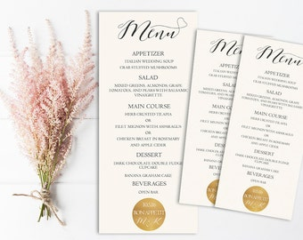 Modern Wedding Menu Printable, Gold Wedding Menu, Wedding Menu PDF, Template, Gold Gliter Sparkle, Metallic Wedding Menu, Digital, DIY