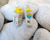 Small House Earrings, Tiny White Ceramic House Earrings, Little Rustic Cottage