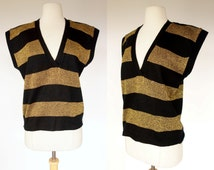 1980s striped sweater vest, black and metallic gold V neck color block acrylic knit top, Collage, Medium