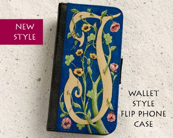 iPhone Case (all models) - William Morris style - Letter J - Floral Design - Wallet flip case -  Samsung Galaxy S4,S5,S6,S7,Edge,S8,S8Plus