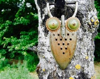 Handmade Repurposed Recycled Owl Arlo Hootenanny