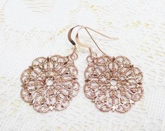Rose Gold Filigree Earrings Ear Dangles Brass Filigree Lace Earrings