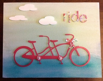 Paper Crafted Ride Watercolor on Canvas