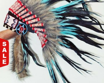 X07 Indian Light Blue / Turquoise and dark Feather Headdress / Warbonnet..