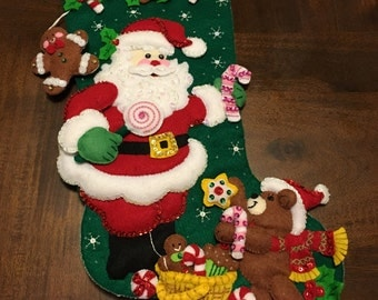 Santa Claus and Teddy Bear stocking felt